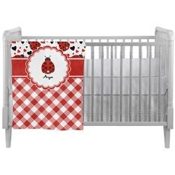Ladybugs & Gingham Crib Comforter / Quilt (Personalized)