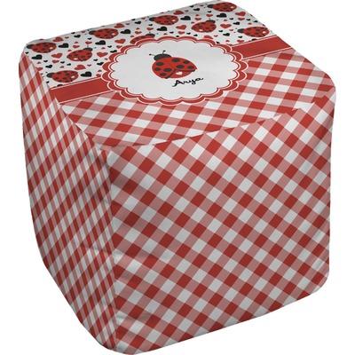 Ladybugs & Gingham Cube Pouf Ottoman (Personalized)