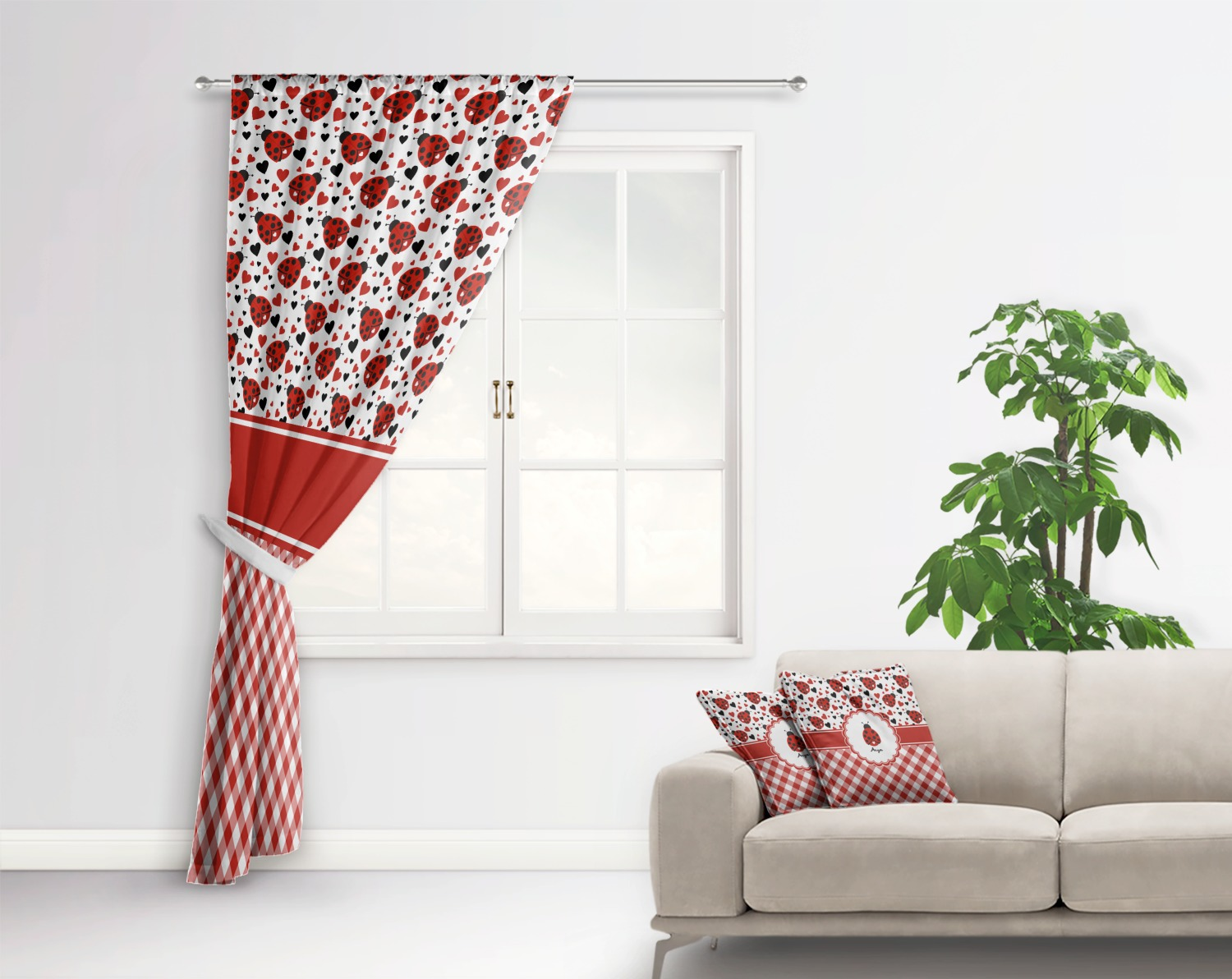 how to create more space in a small bedroom ladybugs amp gingham curtain personalized youcustomizeit 21321