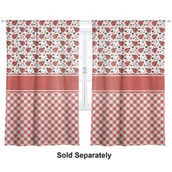 "Ladybugs & Gingham Curtains - 20""x63"" Panels - Unlined (2 Panels Per Set) (Personalized)"
