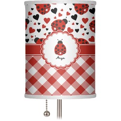 "Ladybugs & Gingham 7"" Drum Lamp Shade (Personalized)"