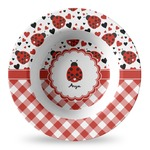 Ladybugs & Gingham Plastic Bowl - Microwave Safe - Composite Polymer (Personalized)