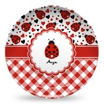 Ladybugs & Gingham Microwave Safe Plastic Plate - Composite Polymer (Personalized)