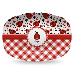 Ladybugs & Gingham Plastic Platter - Microwave & Oven Safe Composite Polymer (Personalized)