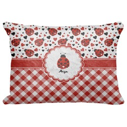 "Ladybugs & Gingham Decorative Baby Pillowcase - 16""x12"" (Personalized)"