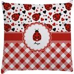 Ladybugs & Gingham Decorative Pillow Case (Personalized)