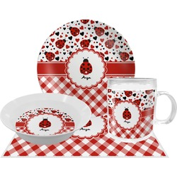 Ladybugs & Gingham Dinner Set - 4 Pc (Personalized)