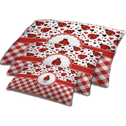 Ladybugs & Gingham Dog Bed w/ Name or Text