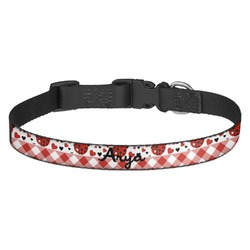 Ladybugs & Gingham Dog Collar (Personalized)