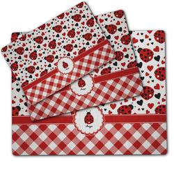 Ladybugs & Gingham Dog Food Mat w/ Name or Text