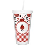 Ladybugs & Gingham Double Wall Tumbler with Straw (Personalized)