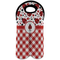 Ladybugs & Gingham Wine Tote Bag (2 Bottles) (Personalized)