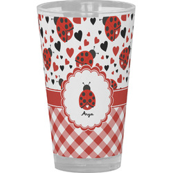 Ladybugs & Gingham Drinking / Pint Glass (Personalized)