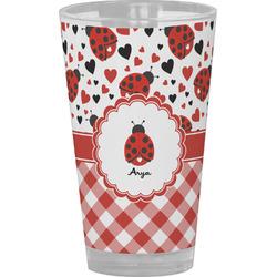 Ladybugs & Gingham Drinking / Pint Glass (Personalized)