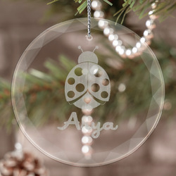 Ladybugs & Gingham Engraved Glass Ornament (Personalized)