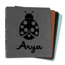 """Ladybugs & Gingham Leather Binder - 1"""" (Personalized)"""