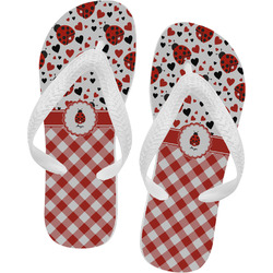 Ladybugs & Gingham Flip Flops (Personalized)