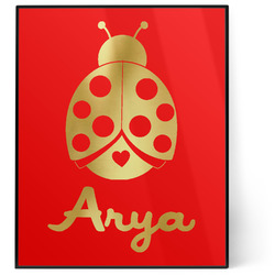 Ladybugs & Gingham 8x10 Foil Wall Art - Red (Personalized)