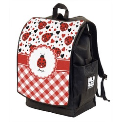 Ladybugs & Gingham Backpack w/ Front Flap  (Personalized)