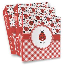 Ladybugs & Gingham 3 Ring Binder - Full Wrap (Personalized)