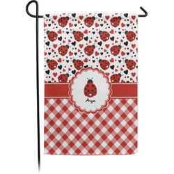 Ladybugs & Gingham Garden Flag - Single or Double Sided (Personalized)