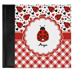 Ladybugs & Gingham Genuine Leather Baby Memory Book (Personalized)