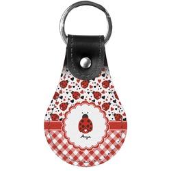 Ladybugs & Gingham Genuine Leather  Keychain (Personalized)