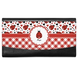 Ladybugs & Gingham Genuine Leather Ladies Wallet (Personalized)