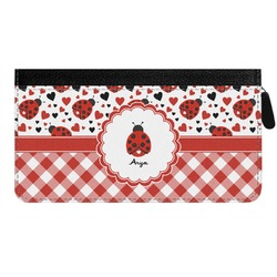 Ladybugs & Gingham Genuine Leather Ladies Zippered Wallet (Personalized)