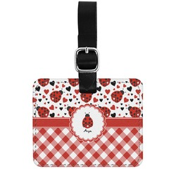 Ladybugs & Gingham Genuine Leather Rectangular  Luggage Tag (Personalized)