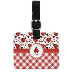Ladybugs & Gingham Genuine Leather Rectangular  Luggage Tag (Personalized)
