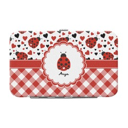 Ladybugs & Gingham Genuine Leather Small Framed Wallet (Personalized)