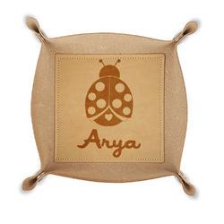 Ladybugs & Gingham Genuine Leather Valet Tray (Personalized)