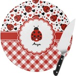 Ladybugs & Gingham Round Glass Cutting Board (Personalized)