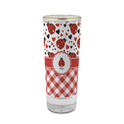 Ladybugs & Gingham 2 oz Shot Glass - Glass with Gold Rim (Personalized)