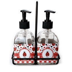 Ladybugs & Gingham Soap & Lotion Dispenser Set (Glass) (Personalized)