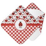 Ladybugs & Gingham Hooded Baby Towel (Personalized)
