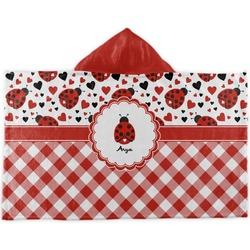 Ladybugs & Gingham Kids Hooded Towel (Personalized)