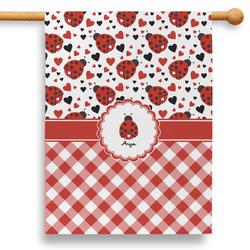 """Ladybugs & Gingham 28"""" House Flag (Personalized)"""