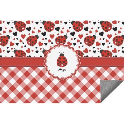 Ladybugs & Gingham Indoor / Outdoor Rug (Personalized)