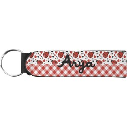 Ladybugs & Gingham Neoprene Keychain Fob (Personalized)