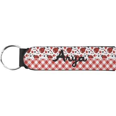 Ladybugs & Gingham Neoprene Keychain Fob (Personalized)