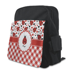 Ladybugs & Gingham Kid's Backpack with Customizable Flap (Personalized)