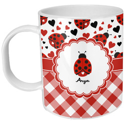 Ladybugs & Gingham Plastic Kids Mug (Personalized)