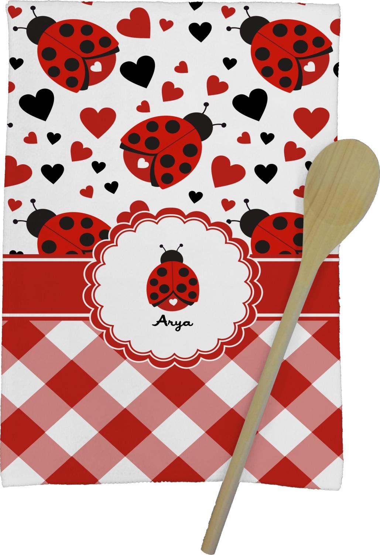 Ladybugs Gingham Kitchen Towel Full Print Personalized