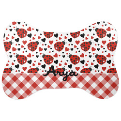 Ladybugs & Gingham Bone Shaped Dog Food Mat (Personalized)