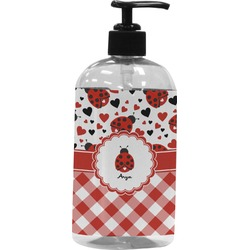Ladybugs & Gingham Plastic Soap / Lotion Dispenser (Personalized)