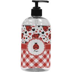 Ladybugs & Gingham Plastic Soap / Lotion Dispenser (16 oz - Large) (Personalized)