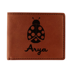 Ladybugs & Gingham Leatherette Bifold Wallet (Personalized)
