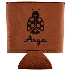 Ladybugs & Gingham Leatherette Can Sleeve (Personalized)